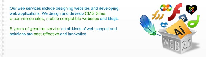 Our web services include designing websites and developing web applications. We design and develop CMS Sites, e-commerce sites, mobile compatible websites and blogs